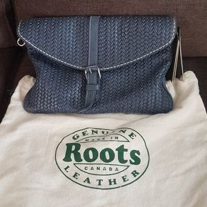 NWT Roots baguette woven trib leather bag